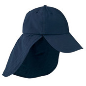 6-Panel UV Low-Profile Cap with Elongated Bill and Neck Cape